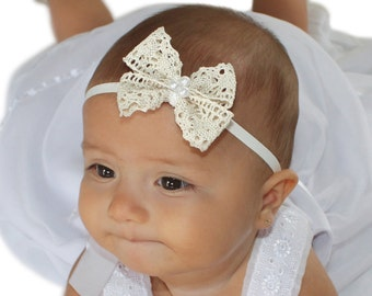 Christening Headband, Beige Bow Headband, Lace Bow Headband, Beige Headband, Infant Headbands, Newborn Headband, Baptism Headband