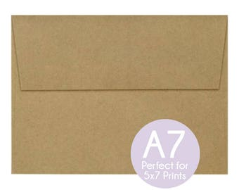 Grocery Bag Brown - A7 5x7 Envelopes - 5x7 Invitation Envelopes, Perfect 5x7 Photo Cards and Invitations, A7 Wedding Envelopes - Set of 10