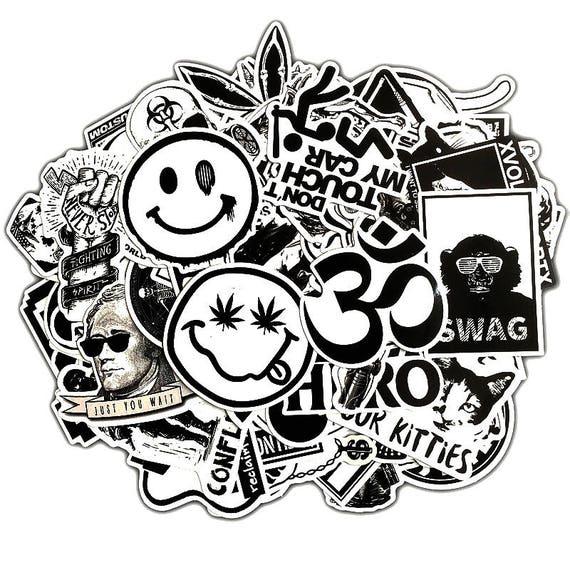 100 black white sticker bombing sticker pack cool