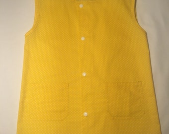 School apron or activity in yellow polka dots sleeveless