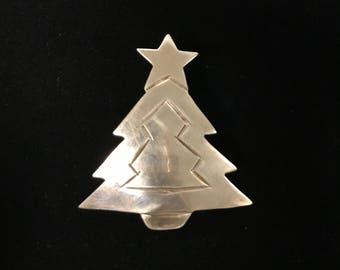 Sterling Christmas Tree Brooch/Pendant