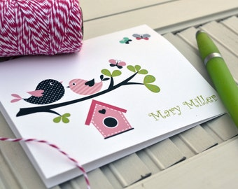 Little Birds Personalized Stationery / Personalized Stationary / Personalized Note Cards / Stationery Set - Pretty Bird House Design