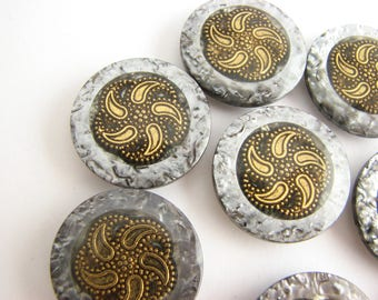 Silver grey buttons with golden star, New Age style buttons from 1990s, 18 mm 23 mm or 28 mm, unused!!