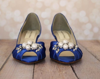 Bridesmaids, Bridesmaids Shoes, Blue Wedding Shoes, Something Blue, Kitten Heels, Simple Wedding Shoes, Custom Wedding, Blue