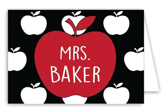 Personalized Teacher Folded Note Cards - Set of 30 Monogram Notes