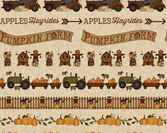 Halloween fabric, Halloween folk art fabric, halloween stripe fabric Free Domestic Ship over 50
