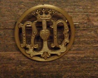 Antique bronze religious brooch N.D.L Notre Dame De Lourdes - our holy lady of Lourdes