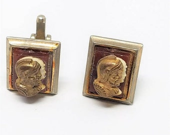 30% Off Sale Vintage Double Cameo Cuff Links Gladiator Roman Soldier