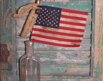 Primitive American Flag - AMERICA, Handmade Rustic Americana Decor, Parade Flag, Primitive Flag, Stick Flag, Stamped Tag, READY to SHIP