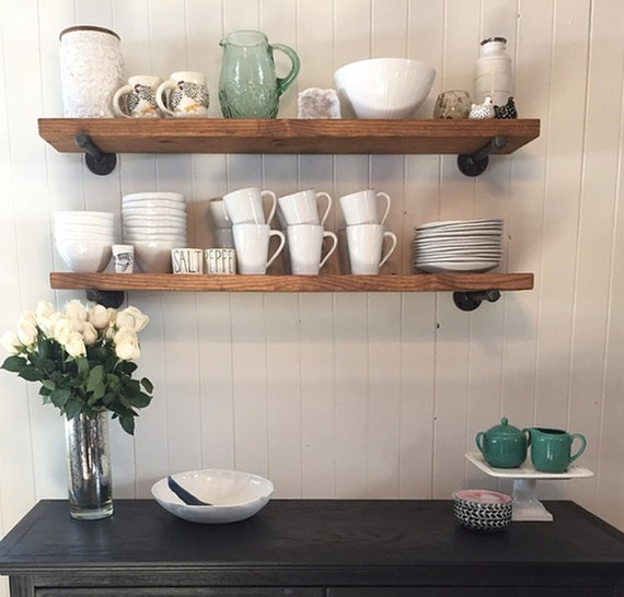 Kitchen Shelf Decor Ideas: Industrial 8 Deep Floating Shelf With Pipe Brackets