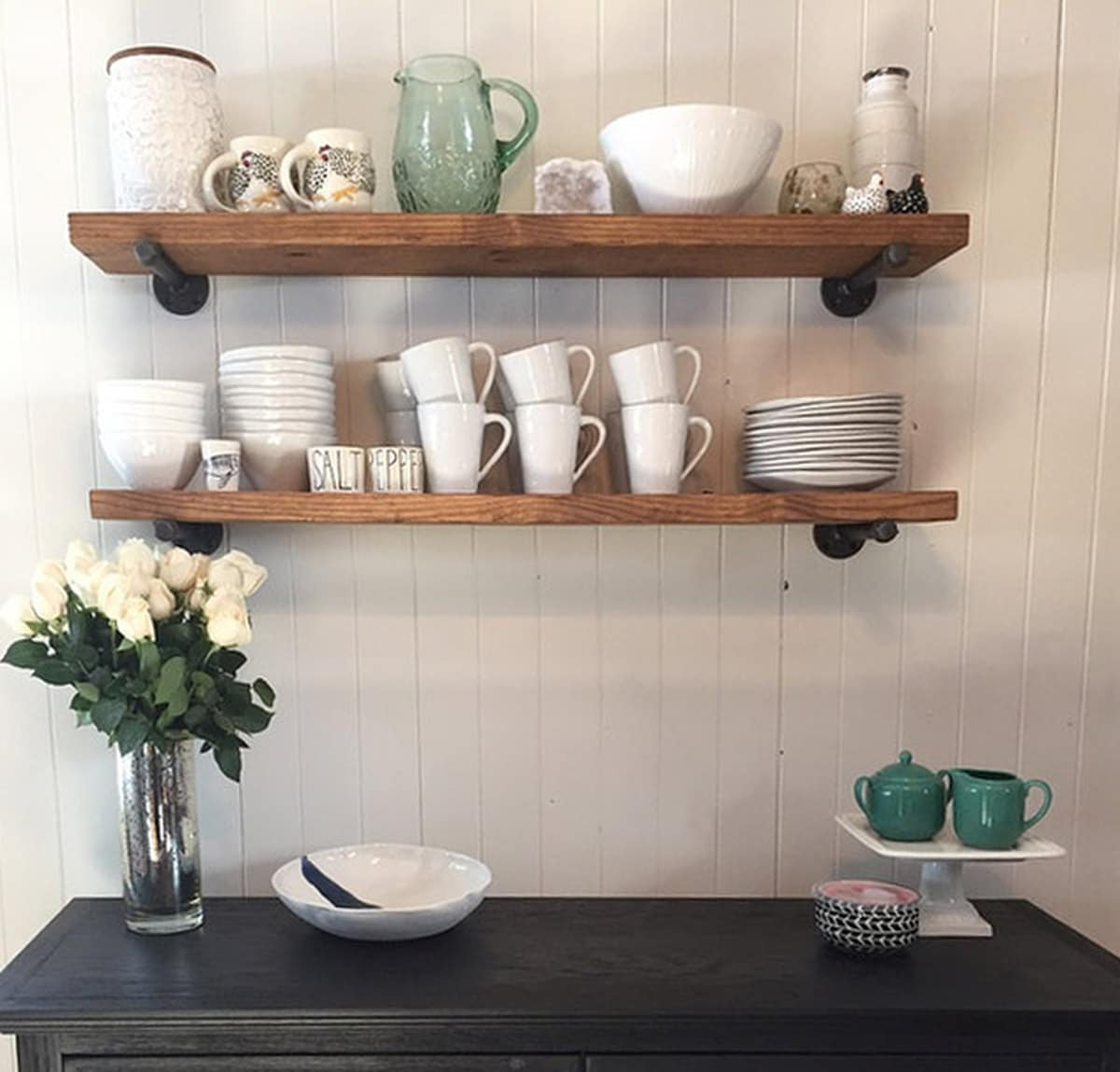 Kitchen Wood Shelves: Industrial 8 Deep Floating Shelf With Pipe Brackets