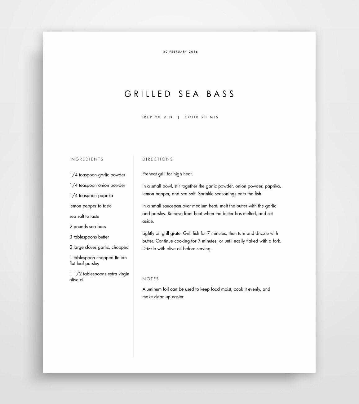 Rezept-Buch-Vorlage Rezept Binder druckbare