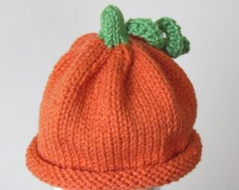 Pumpkin Hat - Infant 3-6 months Knit  Pumpkin Patch Photo Prop for Baby Boy or Baby Girl  - Ready To Ship - Direct Checkout