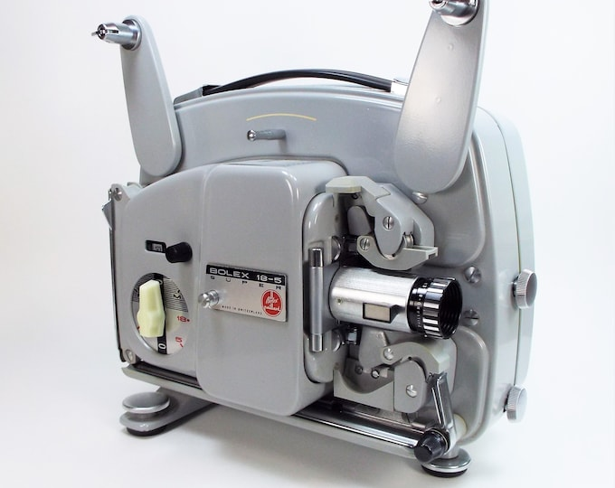 Bolex-Paillard 18-5 Super 8mm Movie Projector w/ Case, Film Reel, Splicer, Cord, Bulb - Hi-Fi 20mm f1.3 Lens - Vintage 1966 - Super Clean