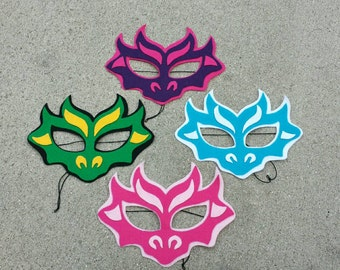 Pack of Four Dragon Children's Fabric Halloween Masks