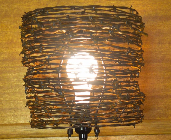 Lamp shade barb wire lamp shade western lamp shade aloadofball Image collections