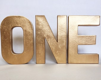 "Metallic Stand Up ""ONE"" Sign -First Birthday -Photo Prop -Party Decor-Paper Mache Letters -Winter ONEderland-Cake Smash -Wild ONE-Decoration"