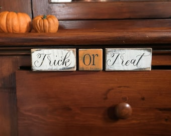 Halloween Trick or Treat - 3 handmade rustic block signs sold as a set