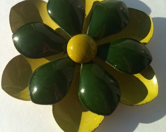 Large Green Enamel Flower Brooch