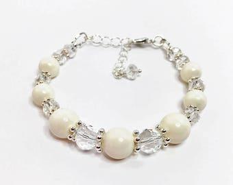 Ivory Swarovski Pearl and Crystal Bracelet Wedding Jewelry Swarovski Elements Cream Pearl Bridal Adjustable Bracelet Mother of the Bride