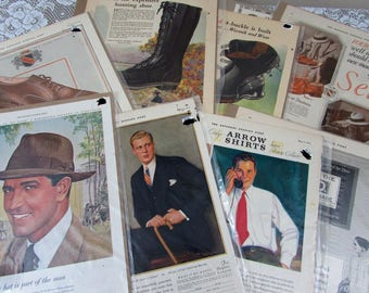 Ten 1920s-40s Mens Fashion Ads - 10 individually packaged ads