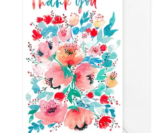 Thank you card, Card for friend, Card for Her, Card for Him, Thanks card, Floral card, Watercolor card, Bouquet card, Encouragement card