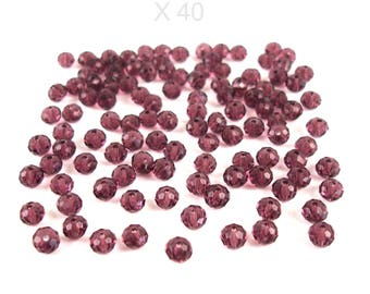 40 faceted 6 mm AMETHYST color glass beads