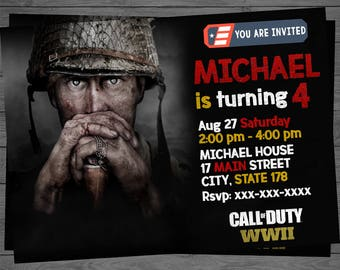 Call of duty etsy call of duty wwii birthday invitation personalized print invitation call of duty birthday party filmwisefo Image collections