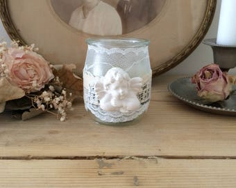 Retro romantic candle: sheet music, lace and Angel (candle)
