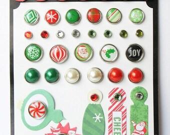 Echo Park CHRISTMAS CHEER Decorative Brads 30 pc + 5 Tags Scrapbook Mixed Media