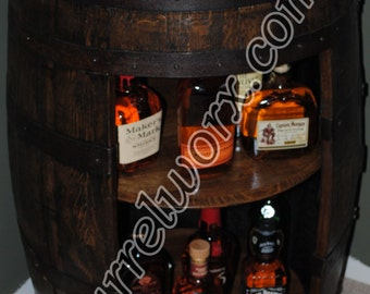 whiskey barrel display liquor cabinet with double lazy susan