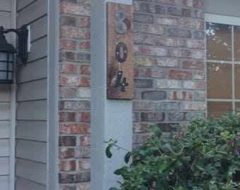 Custom Steel and Wood Address Plaque, House Numbers Sign, House Numbers Plaque, Address Sign, House Numbers, Vertical Address