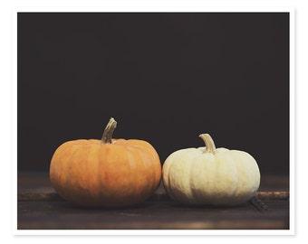 Pumpkins Photography, Orange and White Pumpkins, Autumn Decor, Dark Moody, Still Life Photograph, Minimal Modern, Halloween Decoration