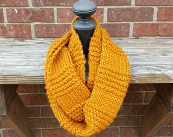 Knit Infinity Scarf, Chunky Knit Scarf, Cowl - Gold