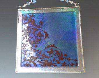 "6 "" Sapphire Blue Damask Fused Glass Suncatcher Panel Light Catcher"