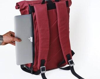 Laptop Backpack, Roll Top Backpack, Cute Backpack, Womens Backpack, Roll Top, Canvas Backpack, Mens Backpack, Rucksack, Travel Backpack, Bag