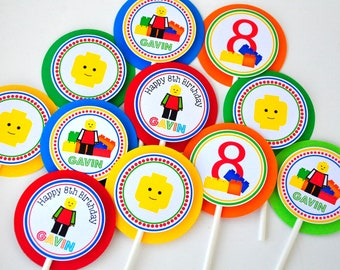 Lego Cupcake Toppers, Personalized Lego Inspired Cupcake Picks, Building Blocks, Lego Birthday, Building Blocks Cupcake Toppers - Set of 12