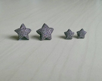 Expresso Glitter Origami Star Stud Earrings