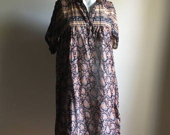 Rare 70s Tent Vintage Dress • Thin Cotton Dress • Free Size Dress