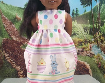 """Easter and Spring Dress for a lucky 18"""" friend.  It is made from all-new materials and is ready to ship."""