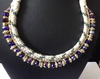 Vintage necklace, boho necklace, statement necklace, beaded necklace, seed beads necklace, choker necklace, Tribal Necklace, necklace sale
