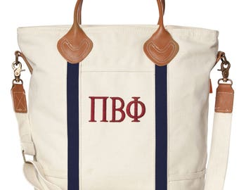 PBP Pi Beta Phi Sorority Embroidered Cotton Canvas Flight Bag