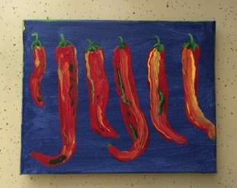 Six Hot Chili Peppers original painting -marked 1/2 off