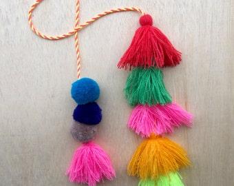 Blue Neon Pom Pom Tassel decoration / camel swag / bohemian style / gypsy fashion / bag charm / llama swag / accessory
