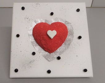 Modern, modern painting on canvas frame red and white heart