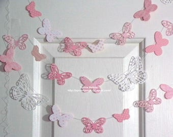 9+ Ft. Pink and White Butterfly Garland...Delicate die cut butterflies...Fluttering Garland...Beautiful designer papers and card stock!