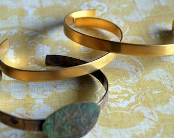 "1/4"" Brass Cuff Bracelet Blank... Brass 8 pieces  - Free Shipping US"
