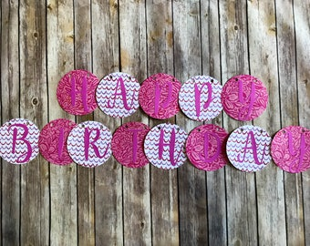 Happy Birthday Banner- Pink Tropical Hibiscus and wavy stripes