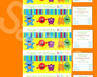 Monsters Water Bottle Wrappers-DIGITAL-check out the matching items in my shop