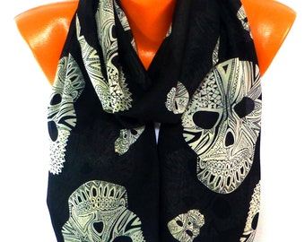 Scarves, Scarf, Shawl, Skull Scarf, Shawl with Skull Pattern, Halloween, Skull Painted, Womens Fashion Accessories, Lightweight Summer Scarf